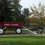 Radio Flyer wagon sculpture at Riverfront Park